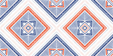 Blue and Coral Hand Drawn Tribal Crosses and Diamonds Vector Seamless Pattern. Stylised Dense Ethnic Geo Texture