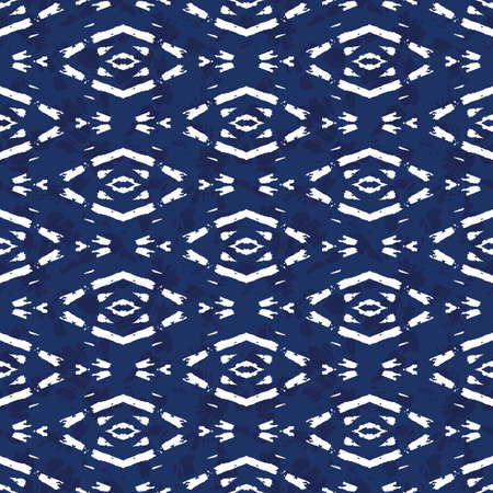 Monochrome White Bright Tie-Dye Shibori Diamonds on Indigo Background Vector Seamless Pattern