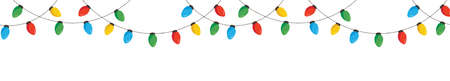 Vector Colorful Retro Holiday Christmas New Year Hanging String Lights Isolated Horizontal Seamless Border Background