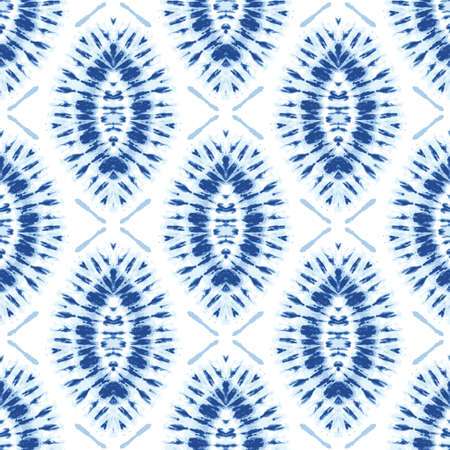Monochrome Indigo Bright Tie-Dye Shibori Sunburst Diamonds on White Background Vector Seamless Pattern