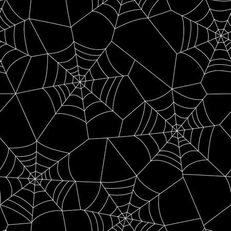 Minimal Halloween Vector Seamless Pattern With White Spider Web on Black Background Standard-Bild - 130160801