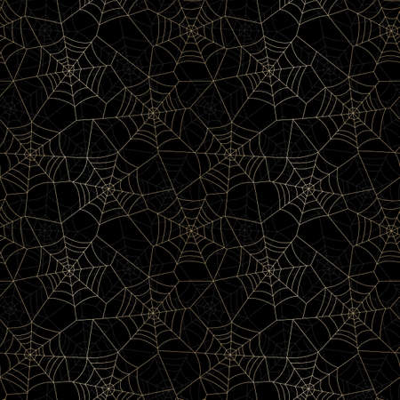 Minimal Gold Halloween Vector Seamless Pattern With Spider Web on Black Background Standard-Bild - 130160802
