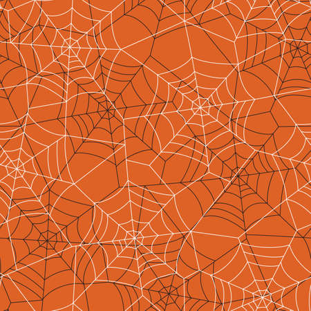Minimal Halloween Vector Seamless Pattern With Black and White Spider Web on Orange Background Standard-Bild - 130160803