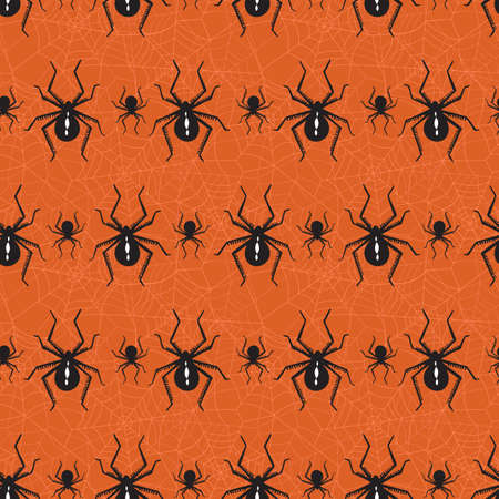 Halloween Vector Seamless Pattern With Black Widow Spiders and Spider Web on Orange Background