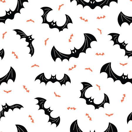 Spooky Halloween Flying Black and Orange Bats Vector Seamless Pattern