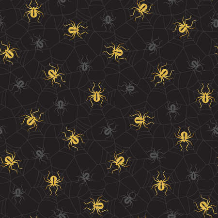 Elegant Halloween Vector Seamless Pattern With Gold and Grey Spiders on Spider Web on Black Background Standard-Bild - 130160835