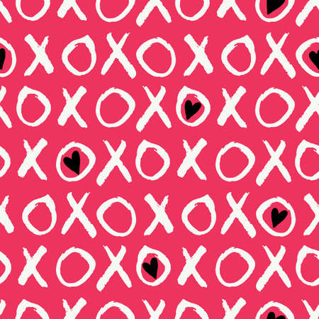 Hand Written Valentines Day Typography vector seamless pattern. Hand Drawn Doodle Hearts and Word XOXO. Graffity