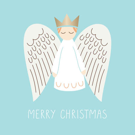 Whimsical Christmas Scandinavian Style Angel on Aqua Background Vector Merry Christmas Card Иллюстрация