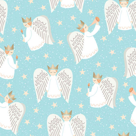 Cute Christmas Scandinavian Style Angels and Stars on Aqua Background Vector Seamless Pattern