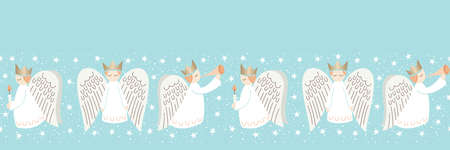 Cute Christmas Scandinavian Style Angels and Stars on Aqua Background Vector Seamless Horizontal Border Pattern Illustration