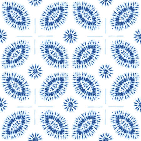 Monochrome Indigo Bright Tie-Dye Shibori Sunburst Flowers on White Background Vector Seamless Pattern