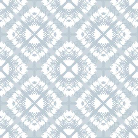 White Tie-Dye Shibori Diamonds on Grey Background Vector Seamless Pattern