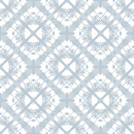 White Tie-Dye Shibori Diamonds on Grey Background Vector Seamless Pattern