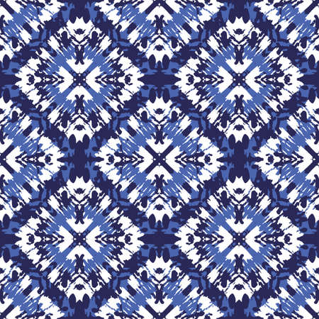 Tie-Dye Shibori Diamonds on Monochrome Indigo Background Vector Seamless Pattern Illustration