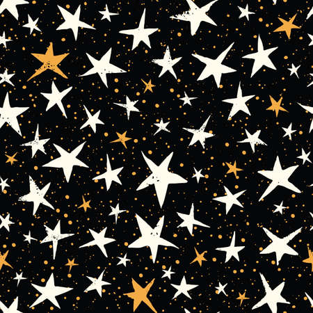 Linocut White and Yellow Stars on Black Sky Vector Seamless Pattern. Winter Christmas Hand Made Print Illustration