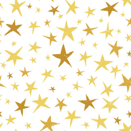 Linocut Gold and Yellow Stars on White Background Vector Seamless Pattern. Winter Christmas Hand Made Print