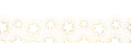 Elegant Winter Holidays Stardust and Stars on White Background Horizontal Bottom Vector Seamless Border