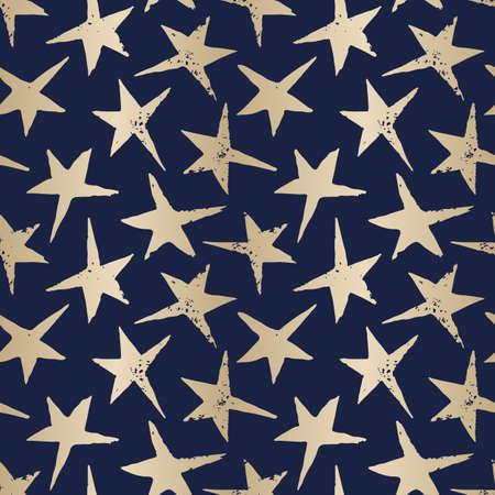 Festive Linocut Gold Stars on Dark Blue Background Vector Seamless Pattern. Winter Holidays Hand Made Print Stock Vector - 133548696