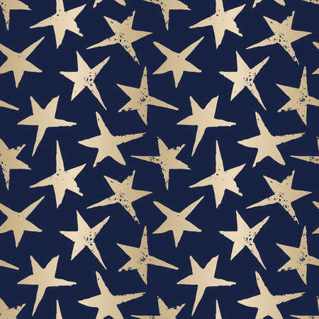 Festive Linocut Gold Stars on Dark Blue Background Vector Seamless Pattern. Winter Holidays Hand Made Print