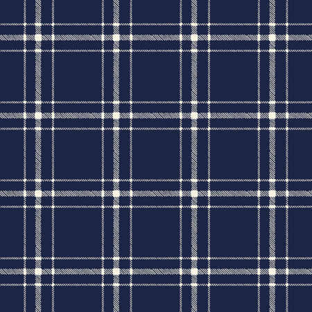Classic Hand-Drawn Two-Color Blue and White Plaid Checks Vector Seamless Pattern Illustration