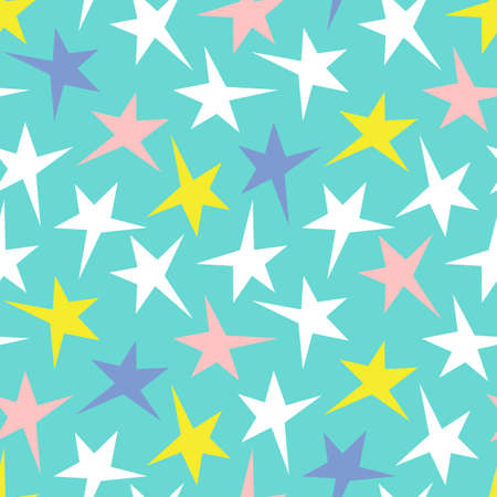 Festive Colorful Neon Stars on Aqua Background Vector Seamless Pattern. Bold Graphic Holidays Print Illustration