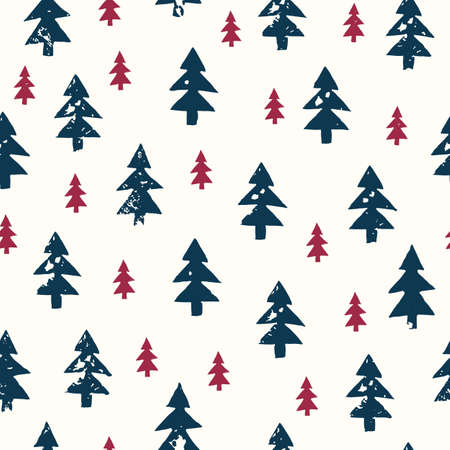 Christmas Rustic Festive Hand-Stamped Fir Trees Vector Seamless Pattern Illustration