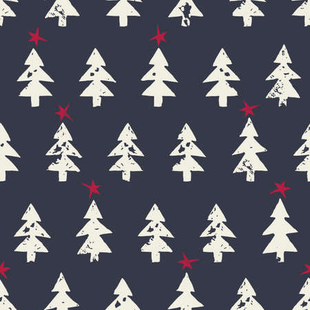 Christmas Rustic Festive Hand-Stamped Fir Trees and Stars Vector Seamless Pattern