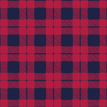Classic Hand-Drawn Blue and Red Buffalo Plaid Checks Vector Seamless Pattern Stock Vector - 133548692