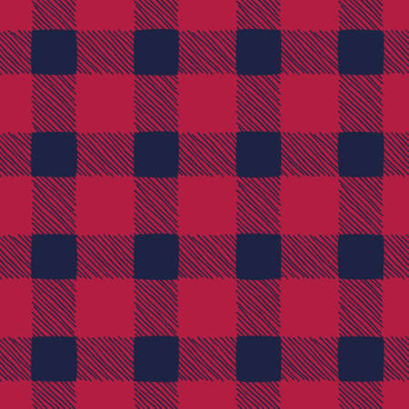 Classic Hand-Drawn Blue and Red Buffalo Plaid Checks Vector Seamless Pattern