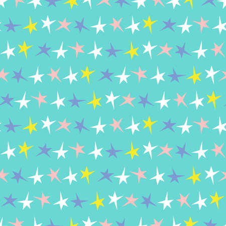 Festive Colorful Neon Small Stars Stripes on Aqua Background Vector Seamless Pattern. Bold Graphic Holidays Print