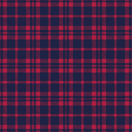 Classic Hand-Drawn Two-Color Blue and Red Buffalo Plaid Checks Vector Seamless Pattern