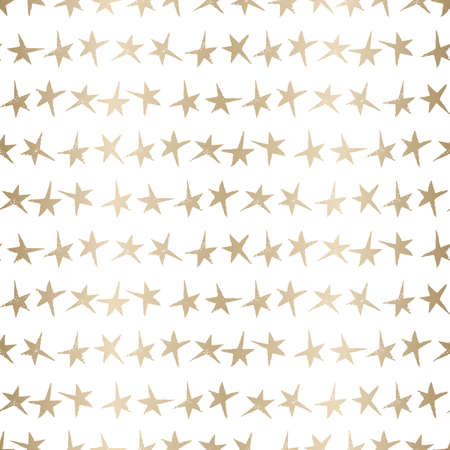 Festive Linocut Gold Small Stars on White Background Vector Seamless Pattern. Winter Holidays Hand Made Print