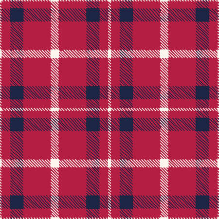 Classic Hand-Drawn Blue White and Red Plaid Checks Vector Seamless Pattern Illustration