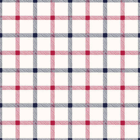 Classic Hand-Drawn Blue and Red Glun Club Plaid Checks on White Background Vector Seamless Pattern
