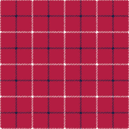 Classic Hand-Drawn Blue and White Tattersall Plaid Checks on Red Background Vector Seamless Pattern