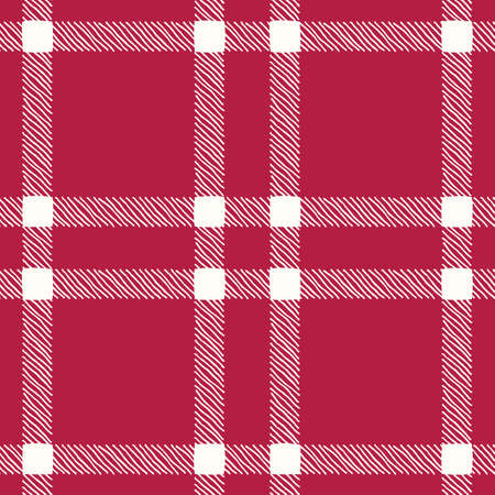 Classic Hand-Drawn White and Red Plaid Checks Vector Seamless Pattern