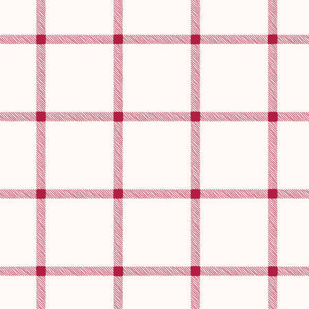 Classic Hand-Drawn Windowpane Checks White and Red Plaid Checks Vector Seamless Pattern
