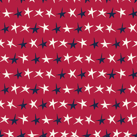 Festive Linocut Blue and White Small Stars on Red Background Vector Seamless Pattern. Hand Made Seamless Holiday Print Illustration