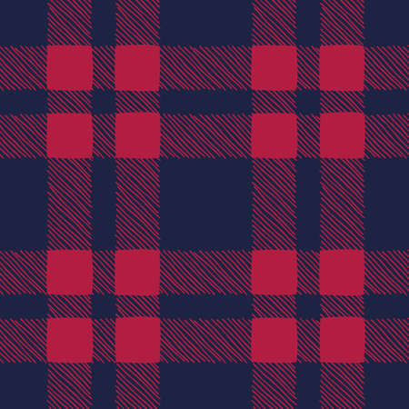 Classic Hand-Drawn Blue and Red Buffalo Plaid Checks Vector Seamless Pattern Stock Vector - 133548865