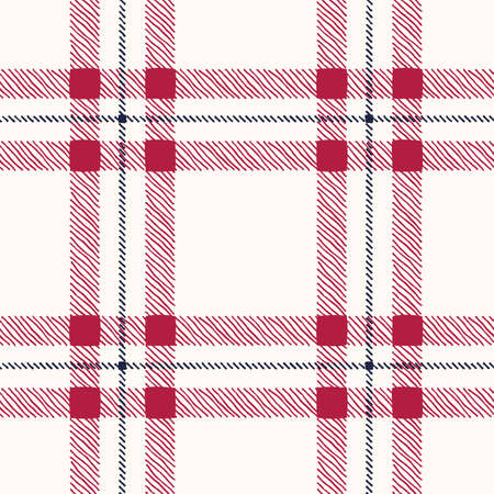 Classic Hand-Drawn Plaid Checks Blue and Red Plaid Checks on White Background Vector Seamless Pattern Illustration
