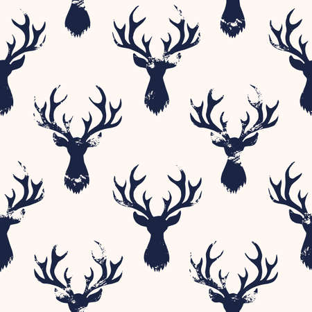 Hand-Stamped Dark Blue Textured Silhouettes of a Deer Head White Background Vector Seamless Pattern