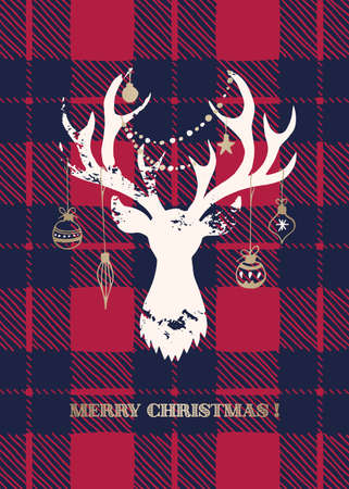 Christmas Card with a White Textured Silhouette of a Deer Head with Gold Hand-Drawn Baubles on Buffalo Checks Background Illustration