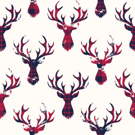 Blue and Red Checks Textured Silhouettes of a Deer Heads on White Background Vector Seamless Pattern Illustration