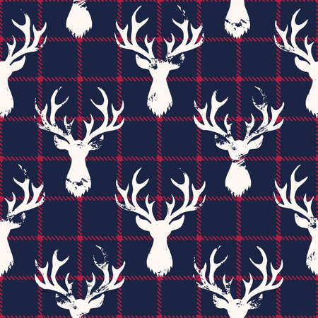 White Textured Silhouettes of a Deer Head on Blue and Red Checkered Plaid Background Vector Seamless Pattern