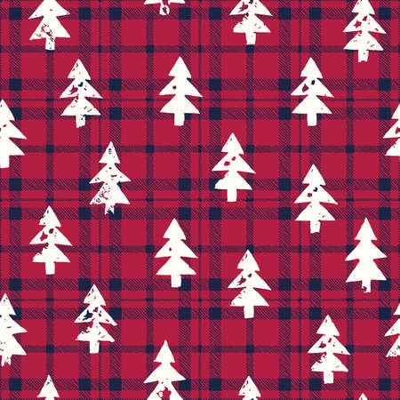 White Textured Silhouettes of Christmas Trees on Blue and Red Checkered Plaid Background Vector Seamless Pattern Illustration