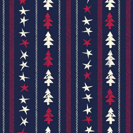 Christmas Rustic Festive Hand-Stamped Vector Seamless Pattern with Vertical Stripes of Stitches, Fir Trees and Stars Illustration