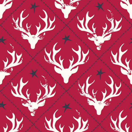 Hand-Stamped White Textured Deer Heads Silhouettes, Stitches and Stars on Red Background Vector Seamless Pattern Stock Vector - 133548875