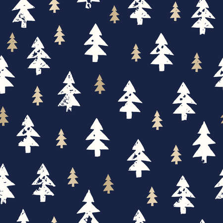 Christmas Rustic Festive Hand-Stamped Fir Trees Vector Seamless Pattern Stock Vector - 133548876