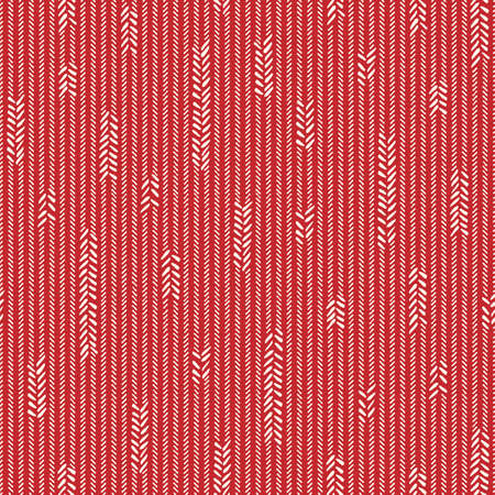 Hand-Drawn Abstract Jersey Knit Texture with White Uneven Vertical Stitches on Red Background Vector Seamless Pattern