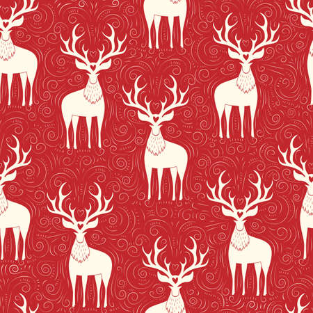 Winter Holidays Vector Seamless Pattern with Whte Deers, Hand-Drawn Doodle Swirls, Swashes on Christmas Red Background